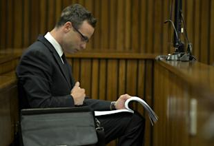 Oscar Pistorius sits in court during his ongoing murder trial in Pretoria, South Africa. (AP)