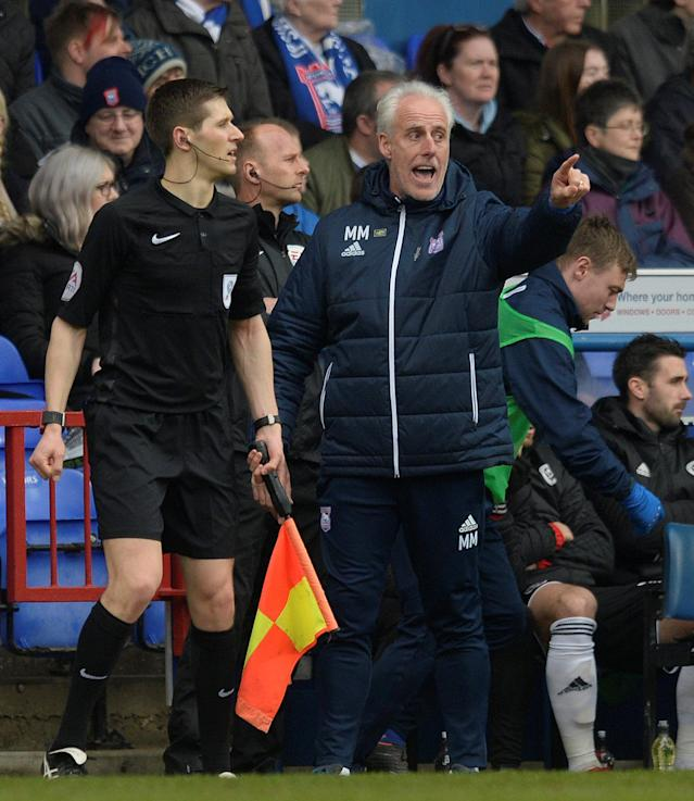 "Soccer Football - Championship - Ipswich Town vs Sheffield United - Portman Road, Ipswich, Britain - March 10, 2018 Ipswich manager Mick McCarthy Action Images/Alan Walter EDITORIAL USE ONLY. No use with unauthorized audio, video, data, fixture lists, club/league logos or ""live"" services. Online in-match use limited to 75 images, no video emulation. No use in betting, games or single club/league/player publications. Please contact your account representative for further details."