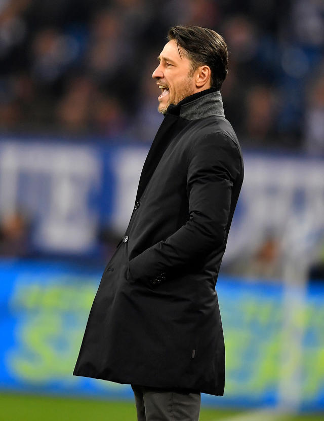 FILE - In this Jan. 27, 2017 file photo Frankfurt's head coach Niko Kovac reacts during the German Bundesliga soccer match between FC Schalke 04 and Eintracht Frankfurt in Gelsenkirchen, Germany. Bayern Munich will get a good look at its next coach when Eintracht Frankfurt visits for a rehearsal of the German Cup final on Saturday April 28, 2018. Kovacs switch has soured relations between the clubs even if both now insist that bygones are bygones. (AP Photo/Martin Meissner,file)