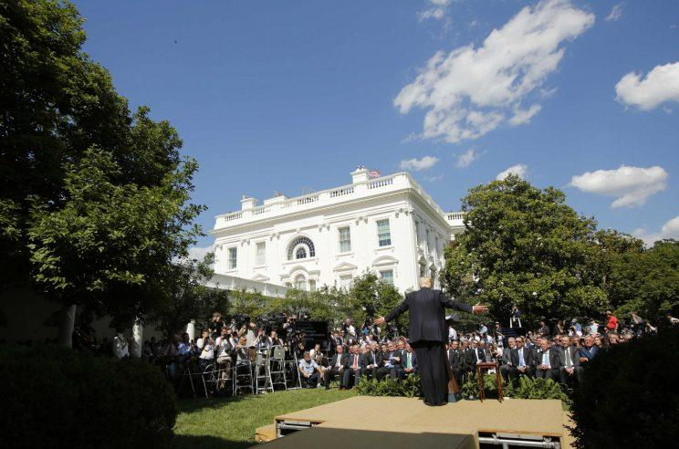 President Trump announces his decision that the United States will withdraw from the Paris Climate Agreement, in the Rose Garden of the White House.