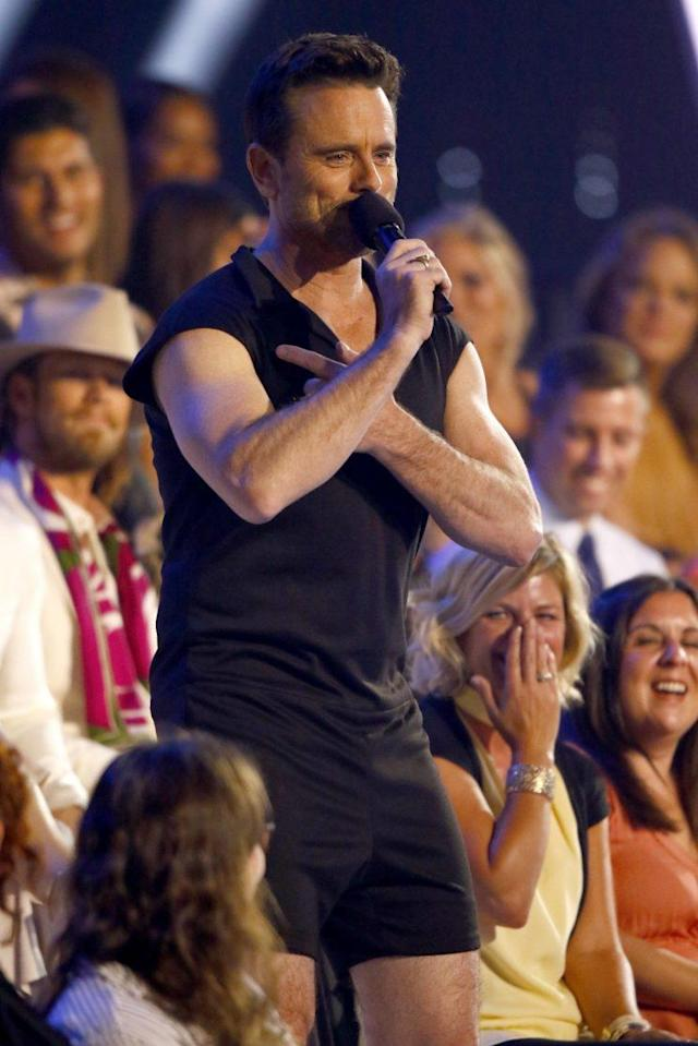 Host Charles Esten sports a romper at the CMT Music Awards. (Photo by Wade Payne/Invision/AP)