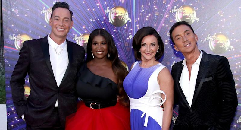 "Craig Revel Horwood, Motsi Mabuse, Shirley Ballas and Bruno Tonioli attend the ""Strictly Come Dancing"" launch show red carpet at Television Centre on August 26, 2019 in London, England. (Photo by Mike Marsland/WireImage)"