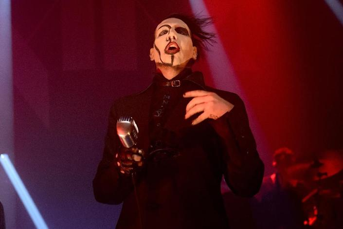 US hard-rock performer Marilyn Manson, pictured February 5, 2015 in Chicago, announced via his website that a November 16 performance set for one of Paris's most prominent venues has been canceled in the wake of the jihadist attacks of November 13 (AFP Photo/Daniel Boczarski)