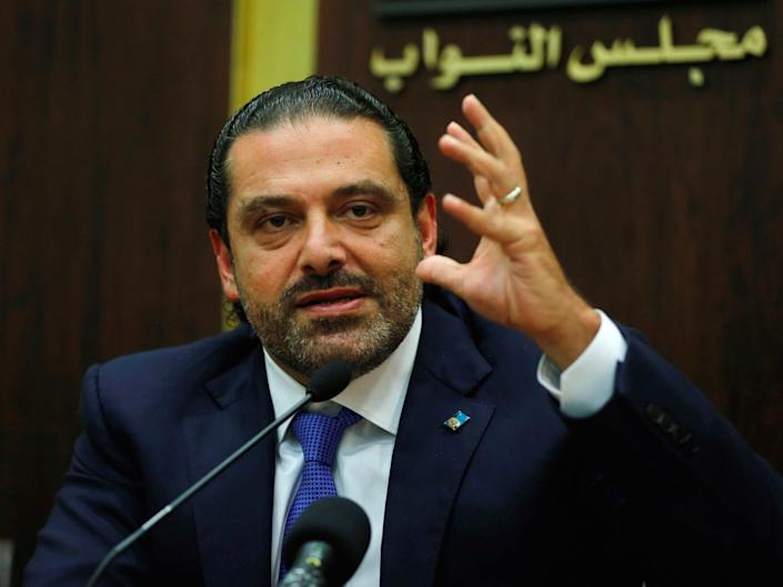 Lebanon's prime minister Saad al-Hariri gestures during a press conference in parliament building at downtown Beirut, Lebanon October 9, 2017.