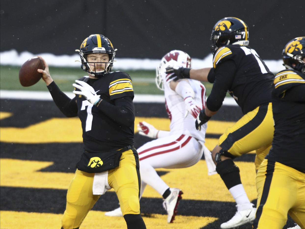 IOWA CITY, IOWA- DECEMBER 12:  Quarterback Spencer Petras #7 of the Iowa Hawkeyes drops back to throw a pass during the first half against the Wisconsin Badgers at Kinnick Stadium on December 12, 2020 in Iowa City, Iowa.  (Photo by Matthew Holst/Getty Images)