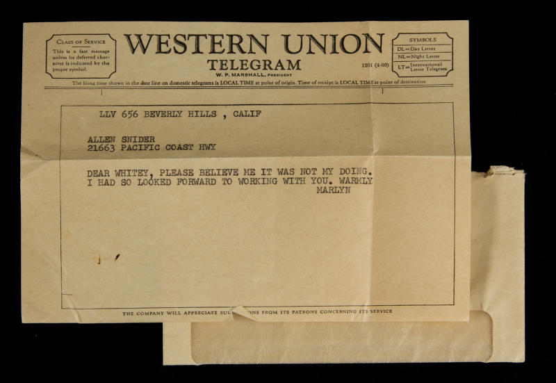 "This undated image, released by Julien's Auctions, shows a Western Union Telegram from Marilyn Monroe to Allan ""Whitey"" Snyder upon her being fired from the film ""Something's Got to Give."" This item is part of Julien's Auctions Hollywood Legends being held on Saturday, March 31, 2012 and Sunday April 1 in Beverly Hills, Calif. (AP Photo/Julien's Auctions)"