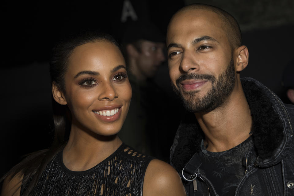 Rochelle Hume and Marvin Humes pose for photographers upon arrival at the Julien Macdonald Spring/Summer 2018 runway show at London Fashion Week in London, Monday, Sept. 18, 2017. (Photo by Vianney Le Caer/Invision/AP)