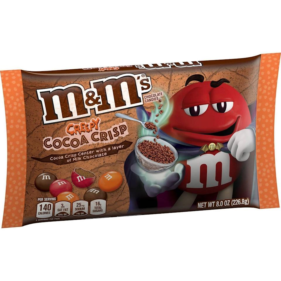"""These new M&M's have a crispy, chocolatey interior! Plus, an assortment of red, orange and brown candy coatings will surely get you in the Halloween spirit.  <b>Buy it! </b>$3.19; <a href=""""https://www.target.com/p/m-38-m-39-s-halloween-cocoa-crisp-8oz/-/A-54534214"""">target.com</a>"""