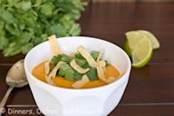 """Photo: Dinners, Dishes and Desserts<br> <a href=""""http://dinnersdishesanddesserts.com/curried-butternut-squash-soup/"""" rel=""""nofollow noopener"""" target=""""_blank"""" data-ylk=""""slk:Curried Butternut Squash Soup"""" class=""""link rapid-noclick-resp"""">Curried Butternut Squash Soup</a><br><br> Super creamy––without any cream––this soup gets a kick from Thai red curry, bright lime juice, and fresh cilantro leaves.<br><br> Recipe: <a href=""""http://dinnersdishesanddesserts.com/curried-butternut-squash-soup/"""" rel=""""nofollow noopener"""" target=""""_blank"""" data-ylk=""""slk:Curried Butternut Squash Soup"""" class=""""link rapid-noclick-resp"""">Curried Butternut Squash Soup</a>"""