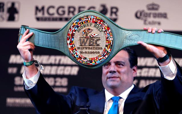 WBC President Mauricio Sulaiman shows off the new belt - Reuters