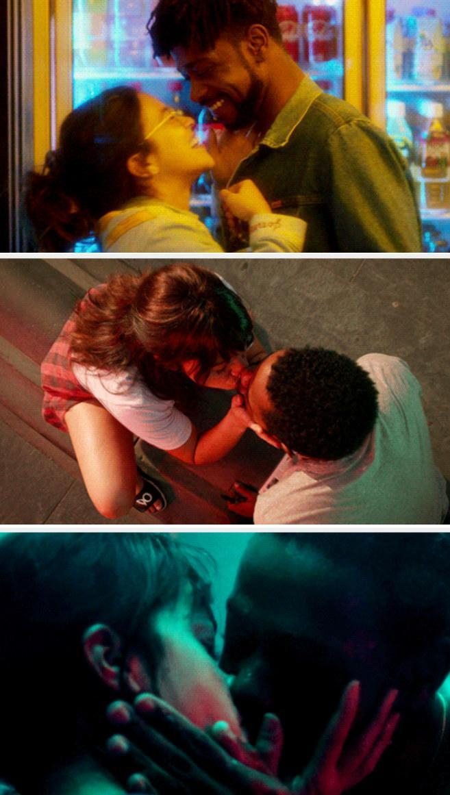 A montage of Jenny and Nate kissing