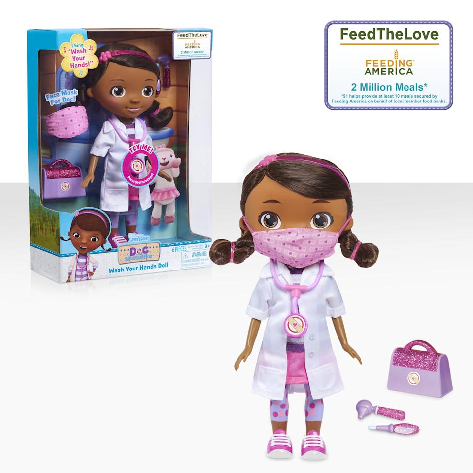 """<p><strong>Doc McStuffins</strong></p><p>walmart.com</p><p><strong>$24.84</strong></p><p><a href=""""https://go.redirectingat.com?id=74968X1596630&url=https%3A%2F%2Fwww.walmart.com%2Fip%2F878866210&sref=https%3A%2F%2Fwww.countryliving.com%2Fshopping%2Fgifts%2Fg34058558%2Fsupport-feeding-america%2F"""" rel=""""nofollow noopener"""" target=""""_blank"""" data-ylk=""""slk:Shop Now"""" class=""""link rapid-noclick-resp"""">Shop Now</a></p><p>To celebrate the launch of the Disney Junior Doc McStuffins Wash Your Hands Doll, Disney and Just Play will donate combined funds to Feeding America that will provide 2 million meals to families across the country. The new interactive doll (a Walmart exclusive) comes with a doctor's bag, pretend stethoscope, thermometer, otoscope, and doll-size face mask. </p>"""