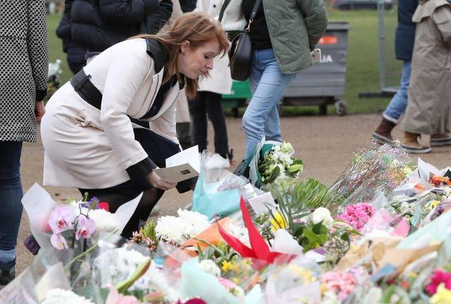Labour's deputy leader Angela Rayner laid a floral tribute at the bandstand in Clapham Common, London (Jonathan Brady/PA)