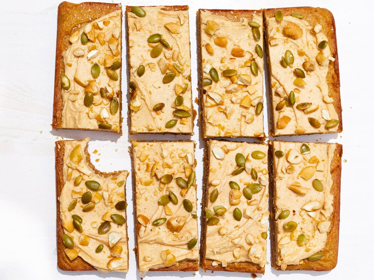 """<p>If zucchini and pumpkin can make a name for themselves in the dessert realm—why not butternut squash? These gluten-free cookie bars pack an impressive level of toasty, fall flavor into every bite thanks to a combination of nutty brown butter, roasted butternut squash, nut butter, and a downright addictive creamy cashew butter-cream cheese icing (seriously, you're gonna wanna spread this on everything—make a double batch) that's elevated with a crunchy topper of toasted pepitas and cashews. We opt for rice flour over all-purpose because this gluten-free alternative can better absorb moisture from the squash to yield a delightfully tender—not wet or overtly cakey—texture. While roasting fresh squash contributes a depth of caramelized flavor you really don't want to miss out on, you can find canned butternut squash in some supermarkets and <a href=""""https://www.amazon.com/Farmers-Market-Organic-Canned-Butternut/dp/B00R14B98A?ie=UTF8&camp=1789&creative=9325&linkCode=as2&creativeASIN=B00R14B98A&tag=cookin09a-20&ascsubtag=d41d8cd98f00b204e9800998ecf8427e"""" target=""""_blank"""">online</a> if you need a speedier swap; in fact, you could even use canned pumpkin in place of the pureed squash. In short, these brown butter butternut blondies will give every bit of convincing you may need need to believe that golden, sweet butternut squash deserves a spot on the holiday dessert table as much as any pumpkin-based treat. </p> <p><a href=""""https://www.myrecipes.com/recipe/butternut-nut-butter-bars"""">Butternut-Nut Butter Bars Recipe</a></p>"""