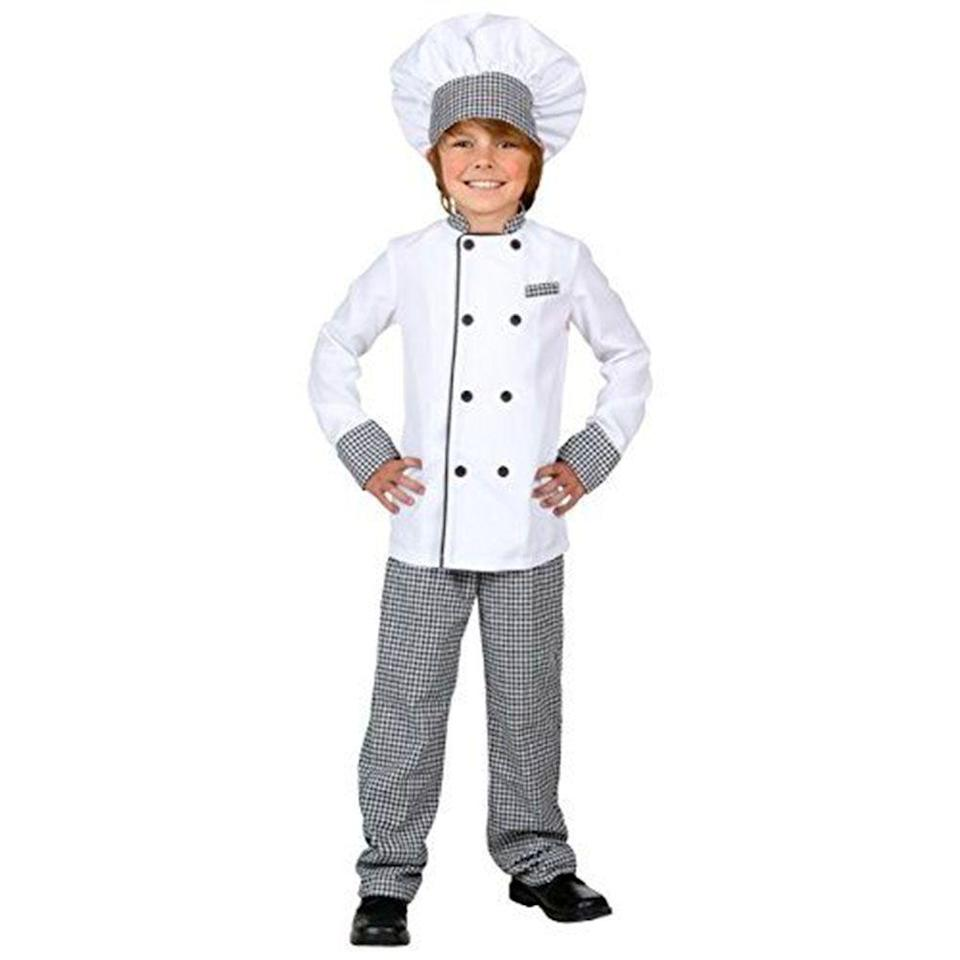 """<p><strong>Fun Costumes</strong></p><p>amazon.com</p><p><strong>$24.99</strong></p><p><a href=""""http://www.amazon.com/dp/B00VKM9FH6/?tag=syn-yahoo-20&ascsubtag=%5Bartid%7C10070.g.22583902%5Bsrc%7Cyahoo-us"""" rel=""""nofollow noopener"""" target=""""_blank"""" data-ylk=""""slk:Shop Now"""" class=""""link rapid-noclick-resp"""">Shop Now</a></p><p>Turn this chef costume into Linguini from <em>Ratatouille </em>by adding a <a href=""""https://www.amazon.com/Squeaking-Rat-Soft-Toy-Animal/dp/B00JGS2FDM/?tag=syn-yahoo-20&ascsubtag=%5Bartid%7C10070.g.22583902%5Bsrc%7Cyahoo-us"""" rel=""""nofollow noopener"""" target=""""_blank"""" data-ylk=""""slk:toy stuffed rat"""" class=""""link rapid-noclick-resp"""">toy stuffed rat </a>to perch on his shoulder.</p>"""