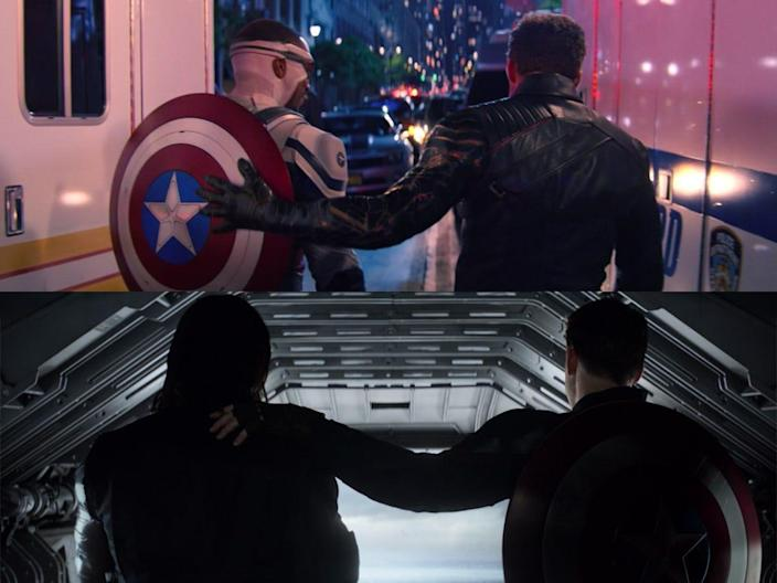 the falcon and the winter soldier 106 detail sam bucky steve pat on the back