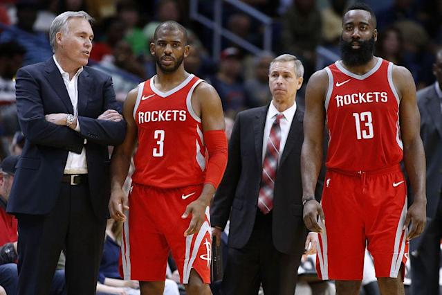 "Mike D'Antoni might have to reintroduce <a class=""link rapid-noclick-resp"" href=""/nba/players/3930/"" data-ylk=""slk:Chris Paul"">Chris Paul</a> and James Harden to his ""Seven Seconds or Less"" offense. (Getty Images)"