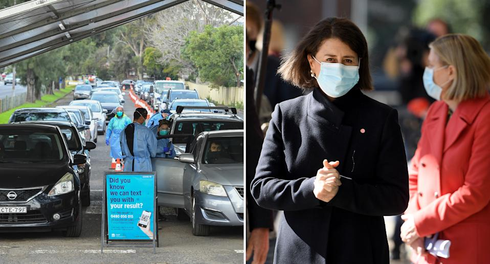Cars lined up at a Covid testing clinic in Sydney's Roselands is pictured left. Gladys Berejiklian wears a face mask on the right.