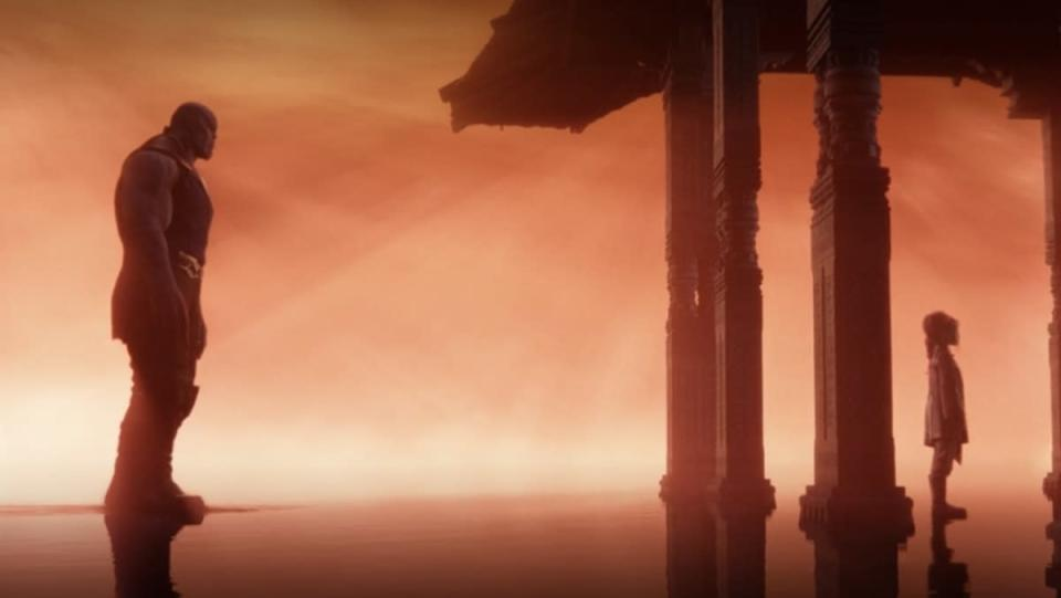 Thanos stands in the orange Soulworld near a temple where his young daughter Gamora stands