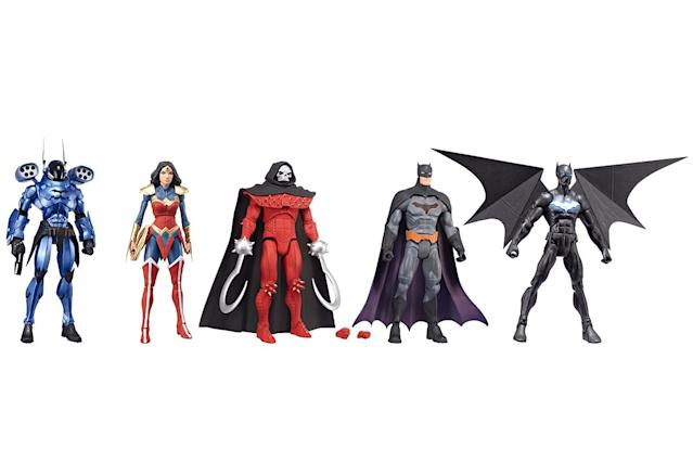 <p>From his humble 1939 origins, the Caped Crusader has seen his universe expanded to include multiple villains, multiple realities, and multiple Batmen. Mattel's trans-media multiverse line draws on video games, animated shows — and, yes, comic books — with 6-inch figures that boast 15-point articulation and collectible bonus pieces. (Photo: Mattel/Warner Bros.) </p>
