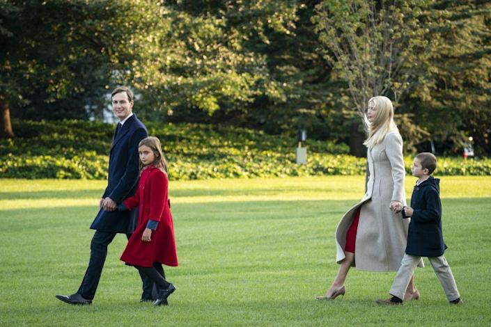White House Senior Advisors Jared Kusher and Ivanka Trump walk with their children Arabella (L) and Joseph (R) on their way to Marine One on the South Lawn of the White House on September 22, 2020 in Washington, DC. President Trump is traveling to Pittsburgh, Pennsylvania for a campaign event. (Photo by Drew Angerer/Getty Images)