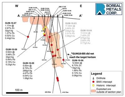 Figure 1 - Plan Drilling Map showing the distribution of drill intercepts at Östra Silvberg (CNW Group/Boreal Metals)