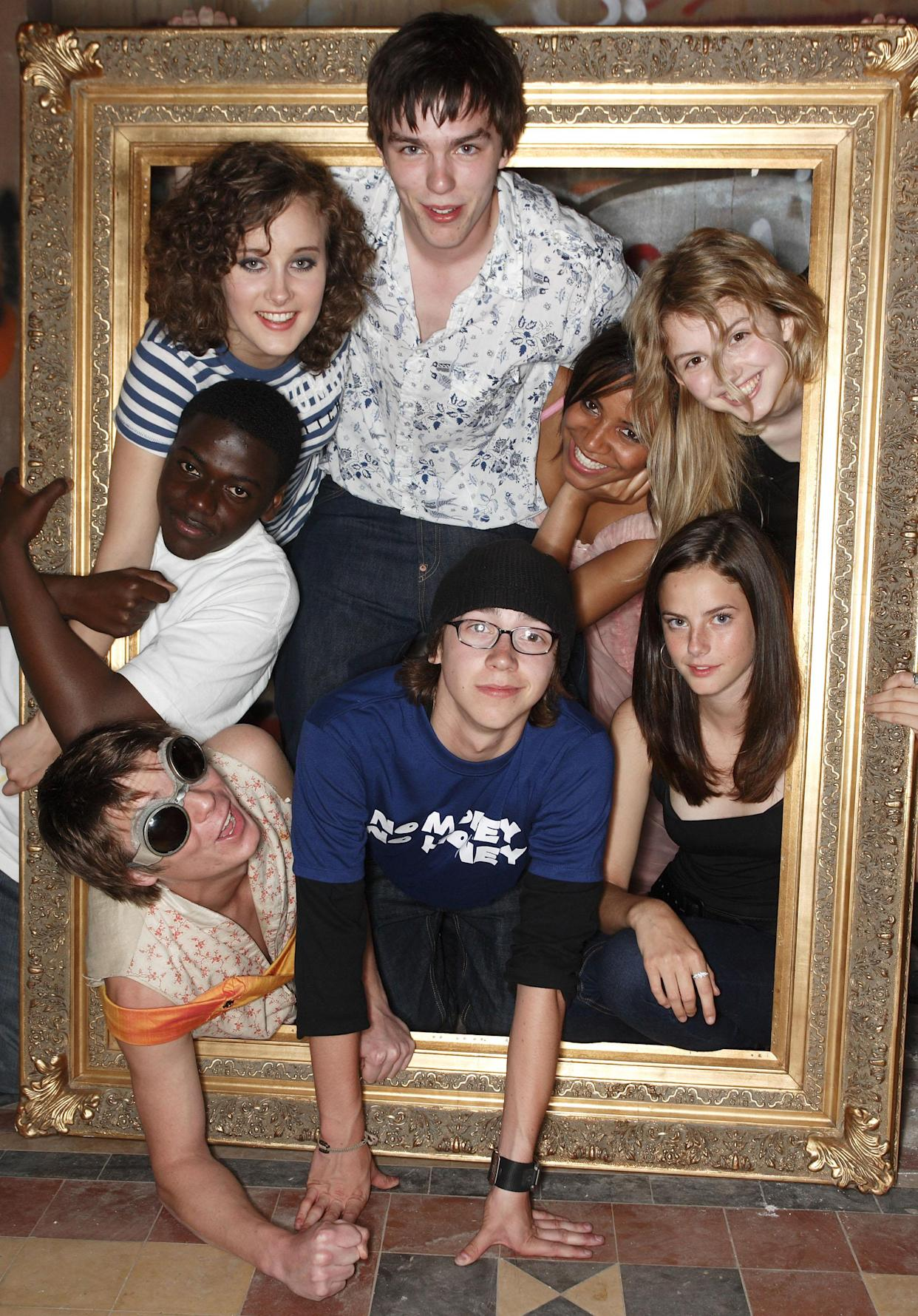 BRISTOL, UNITED KINGDOM - AUGUST 02:  Joseph Dempsie, April Pearson, Nicholas Hoult, Mike Bailey, Larissa Wilson, Hannah Murray and Kaya Scodelario attend the Channel 4/ E4 party for a one-off Skins special on August 2, 2007 in Bristol (Gloucestershire), England.  (Photo by Mike Marsland/WireImage)