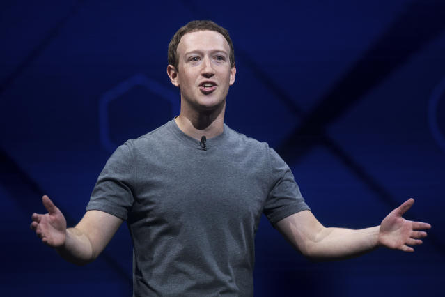 Facebook CEO Mark Zuckerberg speaks at his company's annual F8 developer conference in San Jose, Calif., on April 18. (Photo: Noah Berger/AP)