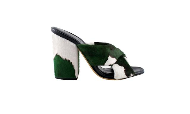 "<p>Turban slide block heel in Pony Lux Green, $675, <a href=""https://shop.alumnae.nyc/products/ve3fywxw1brarbola7s1lmtina32g2"" rel=""nofollow noopener"" target=""_blank"" data-ylk=""slk:alumnae.com"" class=""link rapid-noclick-resp"">alumnae.com</a> </p>"
