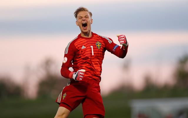 Soccer Football - UEFA European Under-17 Championship - Group B - Slovenia v Sweden - St George's Park, Burton Upon Trent, Britain - May 4, 2018 Sweden's Simon Andersson celebrates after the match Action Images via Reuters/Lee Smith