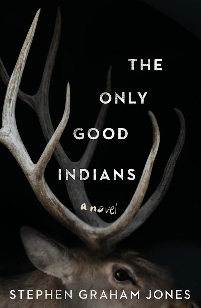 Prominent antlers atop the head of an elk on a black background of a book cover