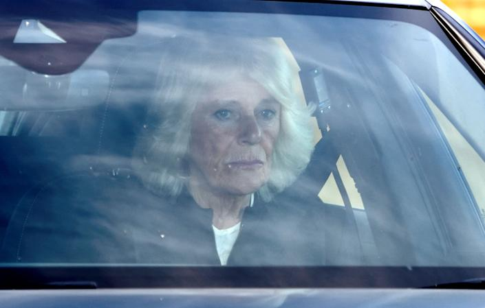 The Duchess of Cornwall departs after the funeral.