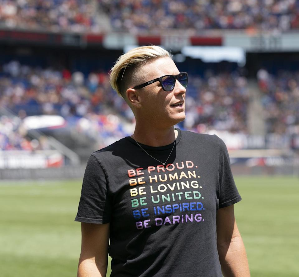 """<p>Retired USWNT player Abby Wambach is recognized as one of the most successful soccer players in the world. Before her retirement in 2015, Wambach had scored the most international goals of any player, male or female, in history, though she's since been <a href=""""https://www.popsugar.com/fitness/christine-sinclair-breaks-record-for-international-goals-47162774"""" class=""""link rapid-noclick-resp"""" rel=""""nofollow noopener"""" target=""""_blank"""" data-ylk=""""slk:passed for that title"""">passed for that title</a> by Canadian Christine Sinclair.</p> <p>After winning the 2015 World Cup, Wambach went to the stands to kiss her then-spouse, Sarah Huffman. Speaking to ESPN <a href=""""https://www.npr.org/sections/thetwo-way/2015/12/15/457117175/abby-wambachs-soccer-career-in-8-iconic-moments/"""" class=""""link rapid-noclick-resp"""" rel=""""nofollow noopener"""" target=""""_blank"""" data-ylk=""""slk:about the moment"""">about the moment</a>, Wambach said, """"I wanted to share that moment with her because she knows all the ups and downs going on in my life as an older player, whether I was starting or not starting. I just wanted to share that moment with her."""" Wambach added that she's never been ashamed of her sexuality, though she hadn't been very public about it before. """"I am not going to scream it from the rooftops, but I sure want to share that moment with my better half."""" She's now married to author Glennon Doyle.</p>"""