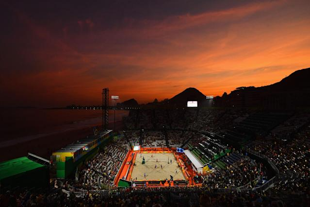<p>A general view as the sun sets on Day 1 of the Rio 2016 Olympic Games at the Beach Volleyball Arena on August 6, 2016 in Rio de Janeiro, Brazil. (Photo by Quinn Rooney/Getty Images) </p>