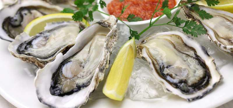 A plate of oysters and lemon wedges.
