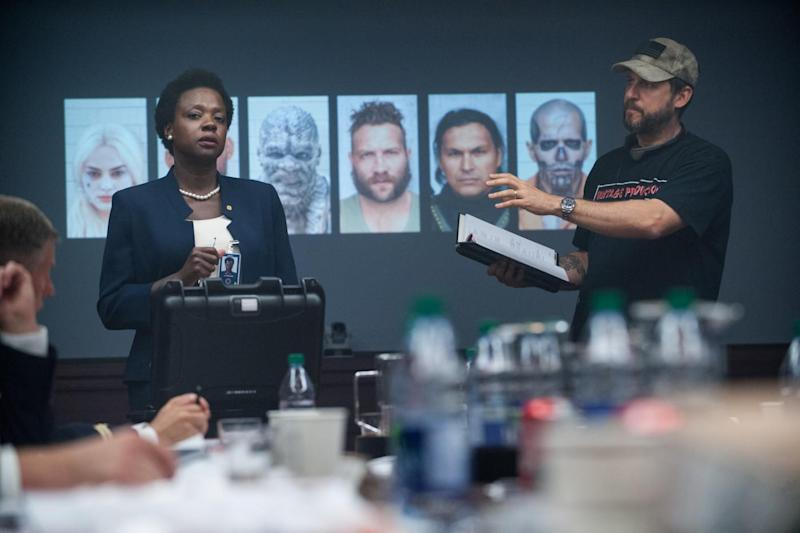 Ayer on the Suicide Squad set with Viola Davis (Credit: Warner Bros)