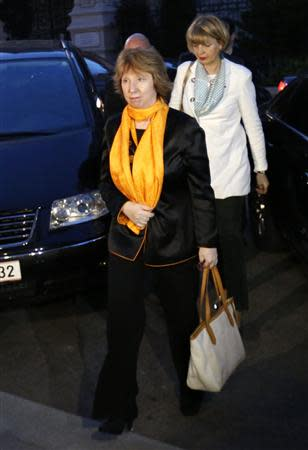 European Union foreign policy chief Catherine Ashton arrives the Iranian mission for a dinner in Vienna April 7, 2014. REUTERS/Leonhard Foeger