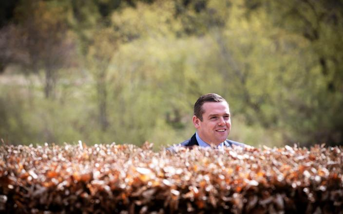 Scottish Conservative leader Douglas Ross during a visit to Henderson Park in Coldstream - PA