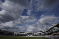 Clouds in the sky during the fifth day of the Test match between England and New Zealand at Lord's cricket ground in London, Sunday, June 6, 2021. (AP Photo/Kirsty Wigglesworth)