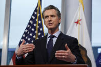 FILE - In this April 9, 2020, file photo California Gov. Gavin Newsom gives his coronavirus update at the Governor's Office of Emergency Services in Rancho Cordova, Calif. (AP Photo/Rich Pedroncelli, File)