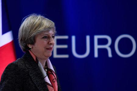 Britain's Prime Minister Theresa May arrives for a news conference during the EU Summit in Brussels, Belgium, March 9, 2017. REUTERS/Dylan Martinez