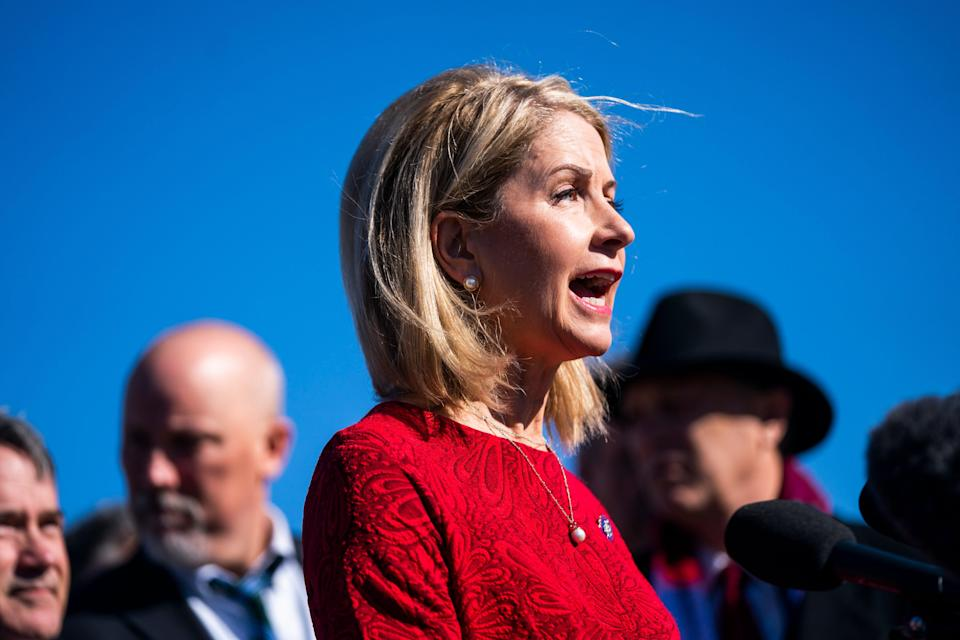 <p>Republican Representative from Illinois Mary Miller joins members of the House Freedom Caucus, who are among the most conservative Republican lawmakers, to speak to the media about their opposition to the Equality Act</p> ((EPA))