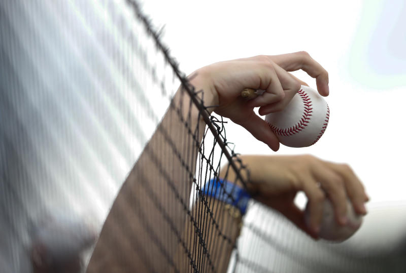 """FILE - In this March 11, 2018 file photo fans holds baseballs over the protective netting before a spring training game between the New York Mets and the Houston Astros, in Port St. Lucie, Fla. Illinois' two senators have urged Major League Baseball to be more transparent about fans who are injured by foul balls, saying the lack of data is creating confusion about the extent of the problem. Democratic Sens. Dick Durbin and Tammy Duckworth said in a letter to baseball Commissioner Rob Manfred this week that MLB should """"collect and report data about fan injuries."""" (AP Photo/John Bazemore, file)"""