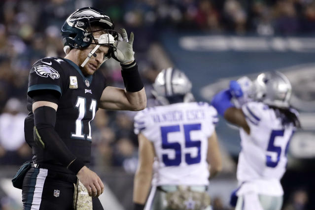 "<a class=""link rapid-noclick-resp"" href=""/nfl/players/29236/"" data-ylk=""slk:Carson Wentz"">Carson Wentz</a> and the Eagles hope to have better luck against the Cowboys on Sunday than they did in Week 10 against their NFC East rivals. (AP)"