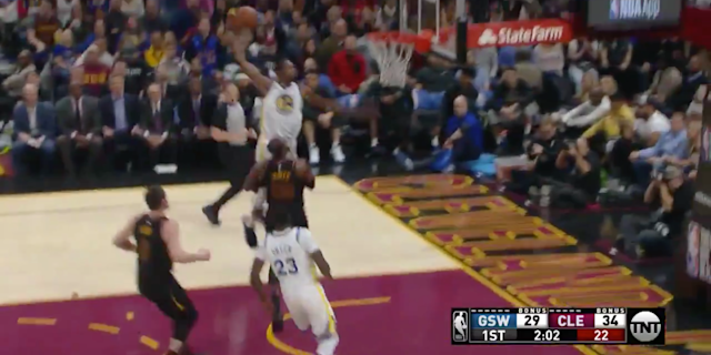 LeBron James was nearly posterized by Kevin Durant, but saved himself at the last moment