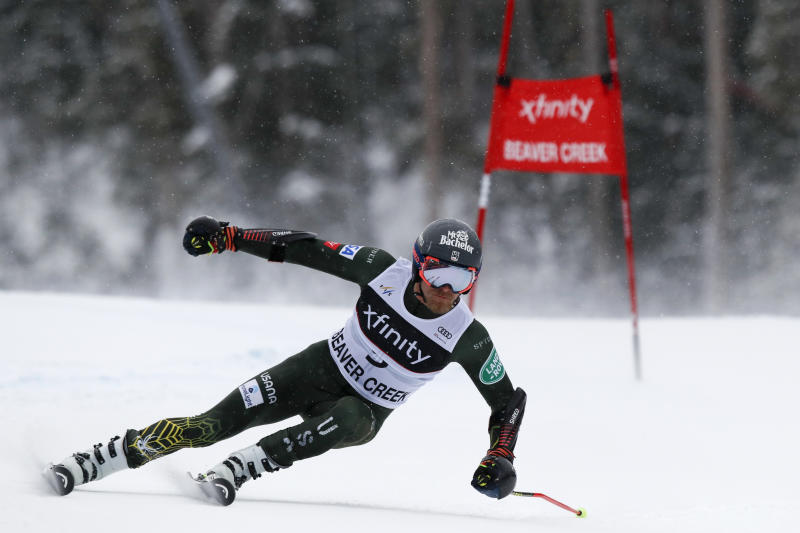 United States' Tommy Ford skis during a men's World Cup giant slalom skiing race Sunday, Dec. 8, 2019, in Beaver Creek, Colo. (AP Photo/Robert F. Bukaty)