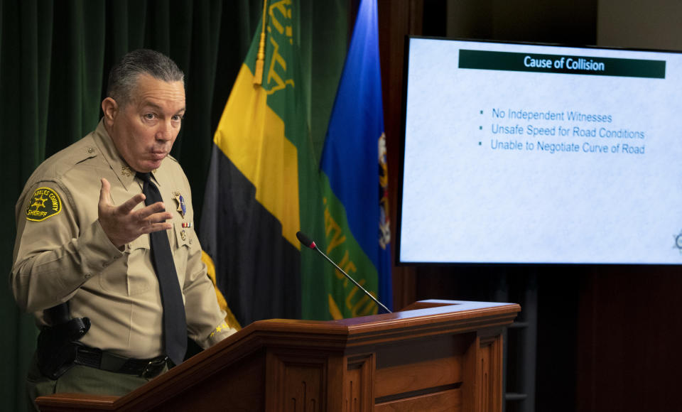 LOS ANGELES, CA - APRIL 07: Los Angeles County Sheriff Alex Villanueva gives reporters an update on the investigation into the crash that seriously injured pro golfer Tiger Woods, during a press conference at the Hall of Justice on Wednesday, April 7, 2021 in Los Angeles, CA. (Brian van der Brug / Los Angeles Times via Getty Images)