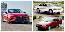 """<p>The Toyota Camry has <a href=""""https://www.caranddriver.com/news/g27041933/best-selling-cars-2019/?slide=18"""" rel=""""nofollow noopener"""" target=""""_blank"""" data-ylk=""""slk:outsold every other sedan in the United States"""" class=""""link rapid-noclick-resp"""">outsold every other sedan in the United States</a> for 18 years in a row. It's proven as addictive as any popular Netflix series, and people continue to binge on this reliable performer year after year. The Camry evolved extensively over its many decades of sales. From its arrival in 1983 until today, we've seen every iteration of a Camry short of a stretch limo. The second-generation Camry added a wagon. In 1994, a coupe model was launched to increase its sporty appeal. In 1999, the Camry dropped its roof and let loose with the convertible Camry Solara. Today you'll find the Camry name competing in NASCAR, or roaming the streets adorned with <a href=""""https://www.caranddriver.com/reviews/a28957090/2020-toyota-camry-trd-drive/"""" rel=""""nofollow noopener"""" target=""""_blank"""" data-ylk=""""slk:TRD badges"""" class=""""link rapid-noclick-resp"""">TRD badges</a> and packing 301 horsepower. Here's a closer look at how this all too familiar vehicle changed throughout its inconspicuous existence:</p>"""