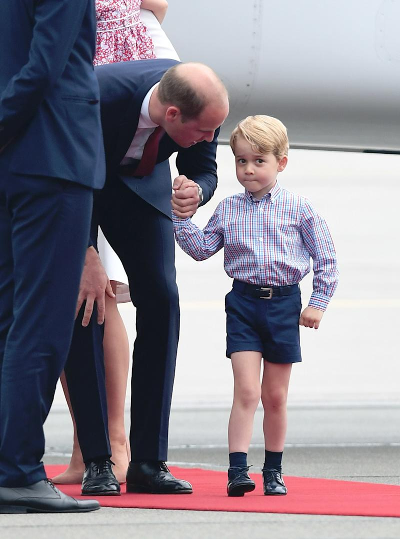 Prince George and Prince William, Duke of Cambridge arrive at Warsaw airport ahead of their Royal Tour of Poland and Germany on July 17, 2017 in Warsaw, Poland.