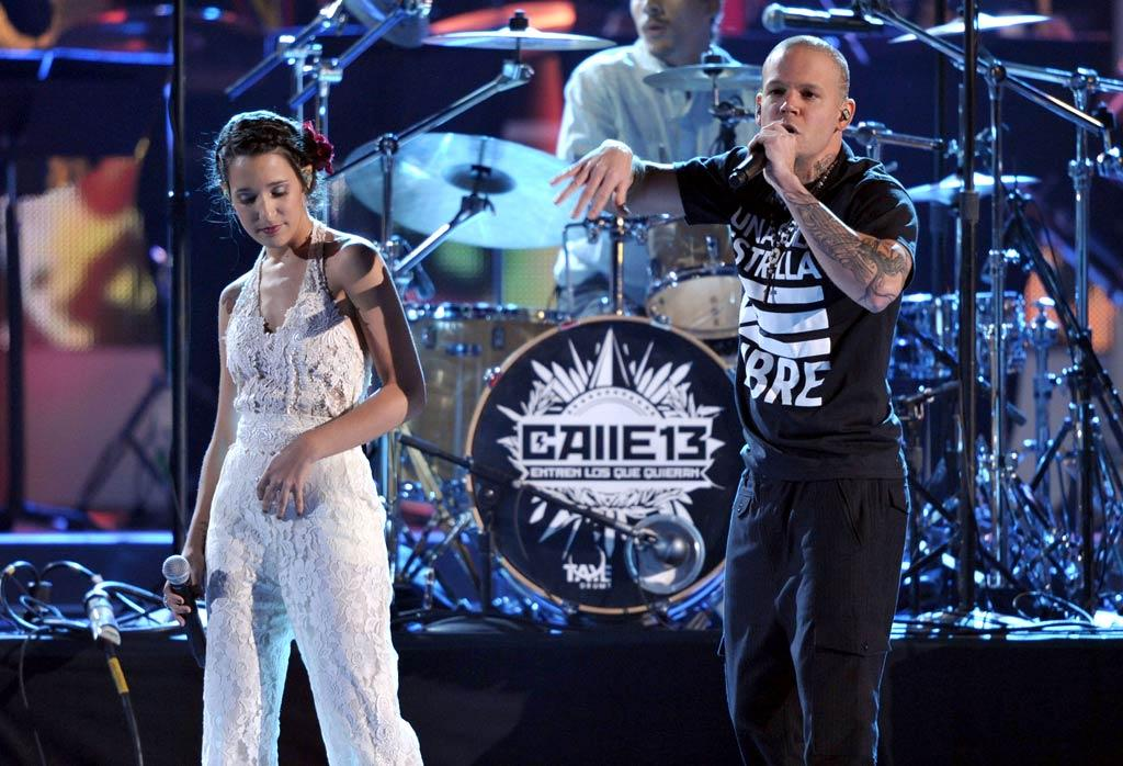 Singers Ileana (aka PG13) and her brother and bandmate Rene Perez Joglar (aka Residente) of Calle 13 took to the stage for one of the evening's multiple performances. The band was one of the night's big winners, taking home a whopping nine statues. (11/10/2011)